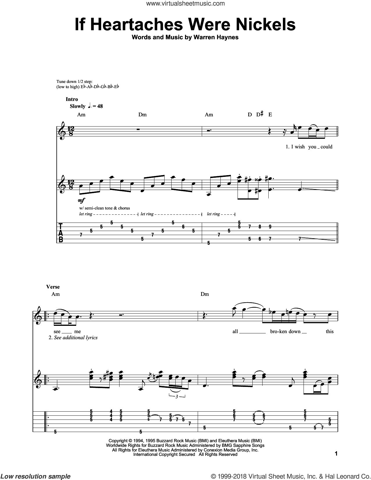 If Heartaches Were Nickels sheet music for guitar (tablature, play-along) by Joe Bonamassa and Warren Haynes. Score Image Preview.