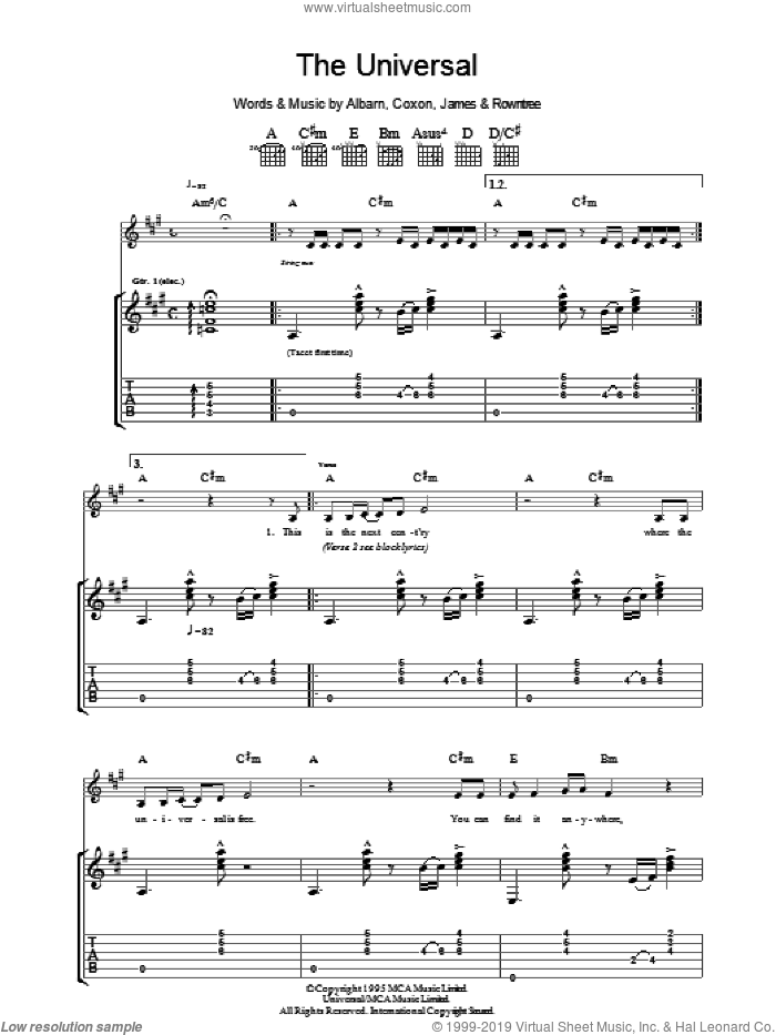 The Universal sheet music for guitar (tablature) by Graham Coxon