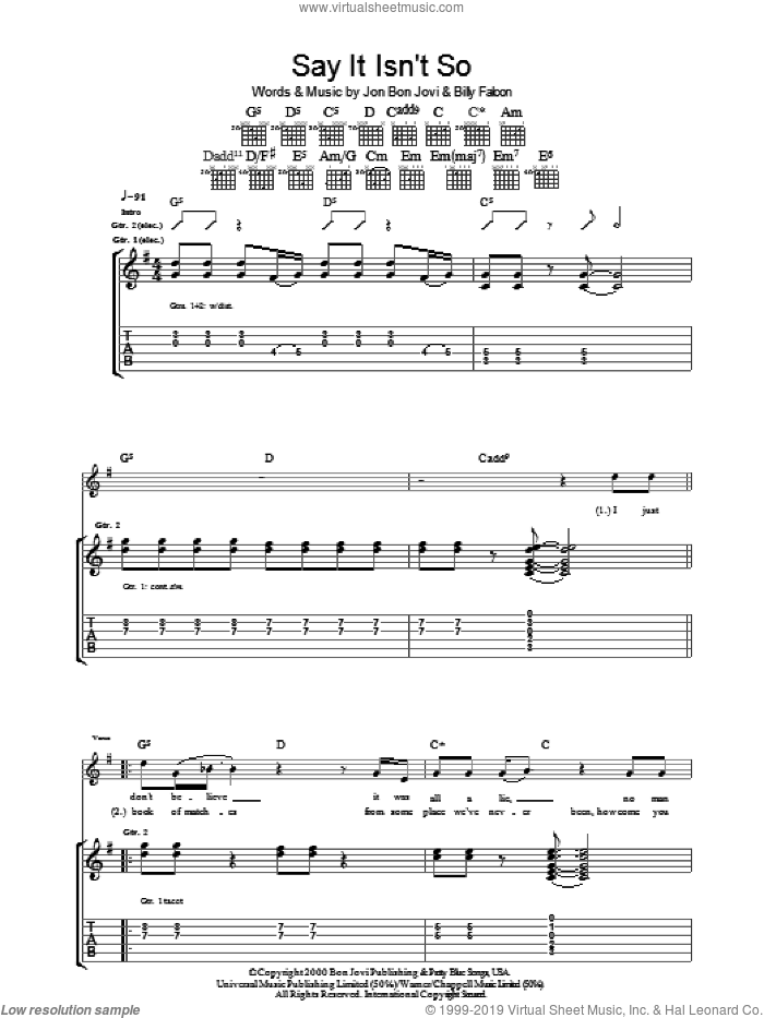 Say It Isn't So sheet music for guitar (tablature) by Bon Jovi and Billy Falcon, intermediate. Score Image Preview.