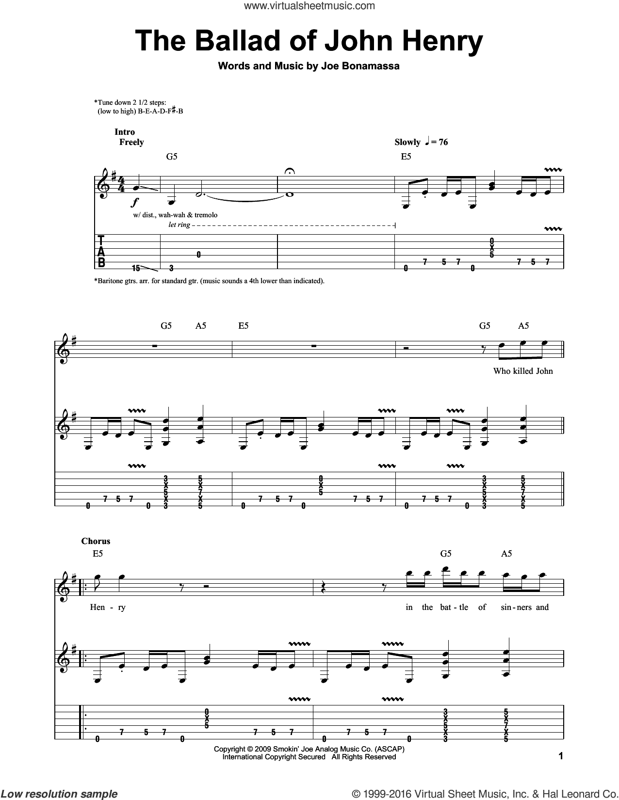 The Ballad Of John Henry sheet music for guitar (tablature, play-along) by Joe Bonamassa. Score Image Preview.