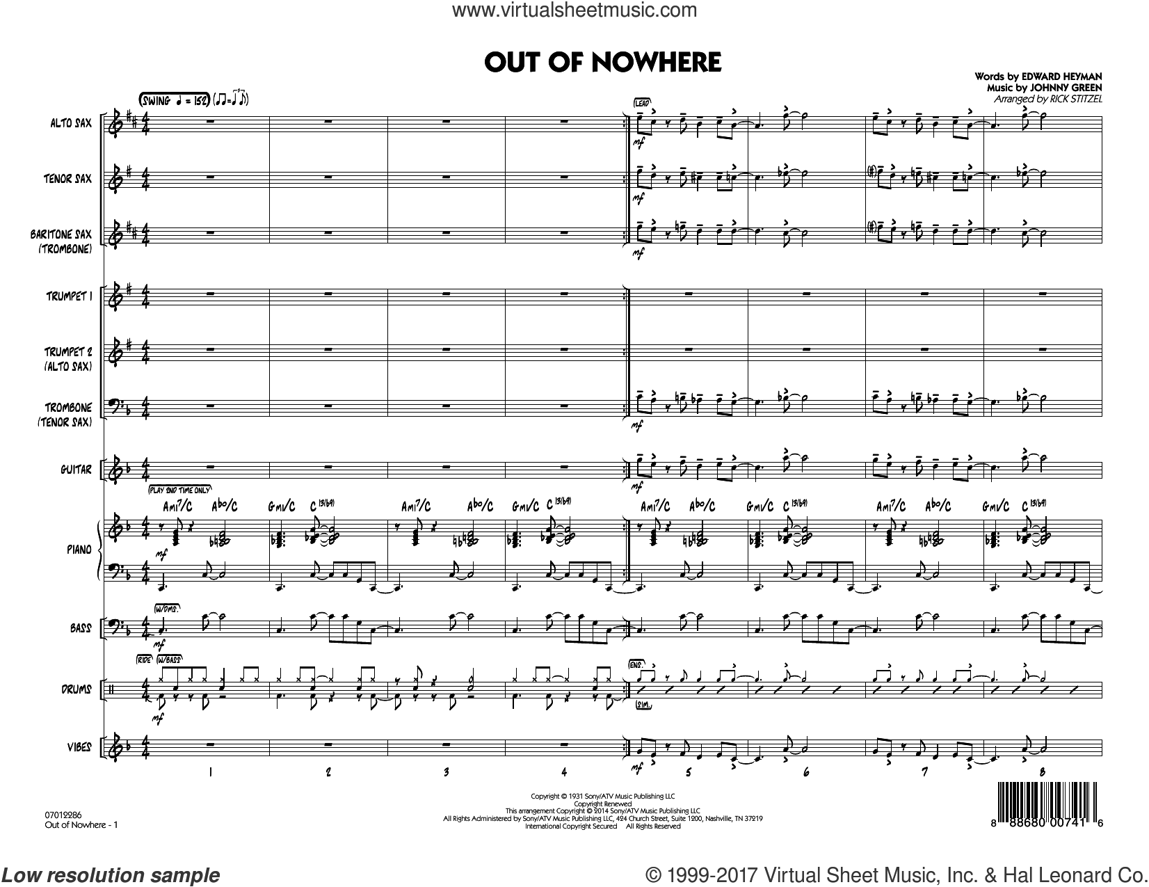 Out of Nowhere (COMPLETE) sheet music for jazz band by Edward Heyman, Buddy DeFranco, Johnny Green and Rick Stitzel, intermediate jazz band. Score Image Preview.
