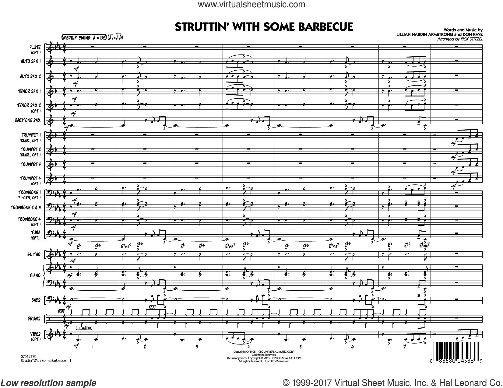 Struttin' with Some Barbecue (COMPLETE) sheet music for jazz band by Louis Armstrong, Don Raye, Lillian Hardin Armstrong and Rick Stitzel, intermediate skill level