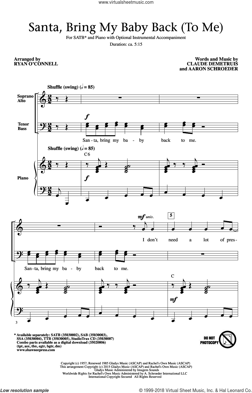 Santa, Bring My Baby Back (To Me) sheet music for choir (SATB: soprano, alto, tenor, bass) by Aaron Schroeder, Elvis Presley and Claude DeMetruis, intermediate. Score Image Preview.