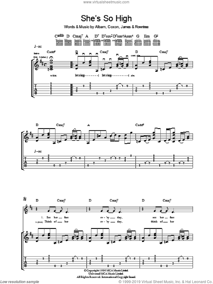 She's So High sheet music for guitar (tablature) by Blur, Alex James and Damon Albarn, intermediate. Score Image Preview.