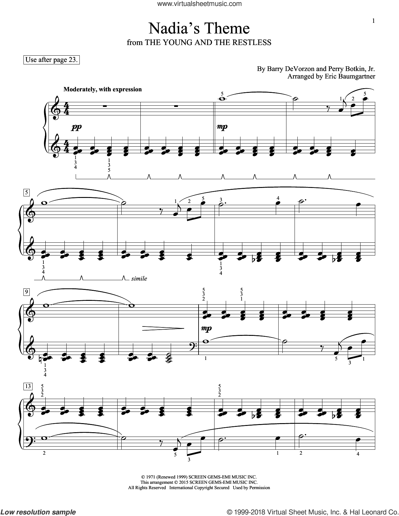 Nadia's Theme sheet music for piano solo (elementary) by John Thompson, Barry DeVorzon & Perry Botkin, Jr., Eric Baumgartner, Glenda Austin, Barry DeVorzon and Perry Botkin, Jr., beginner piano (elementary)