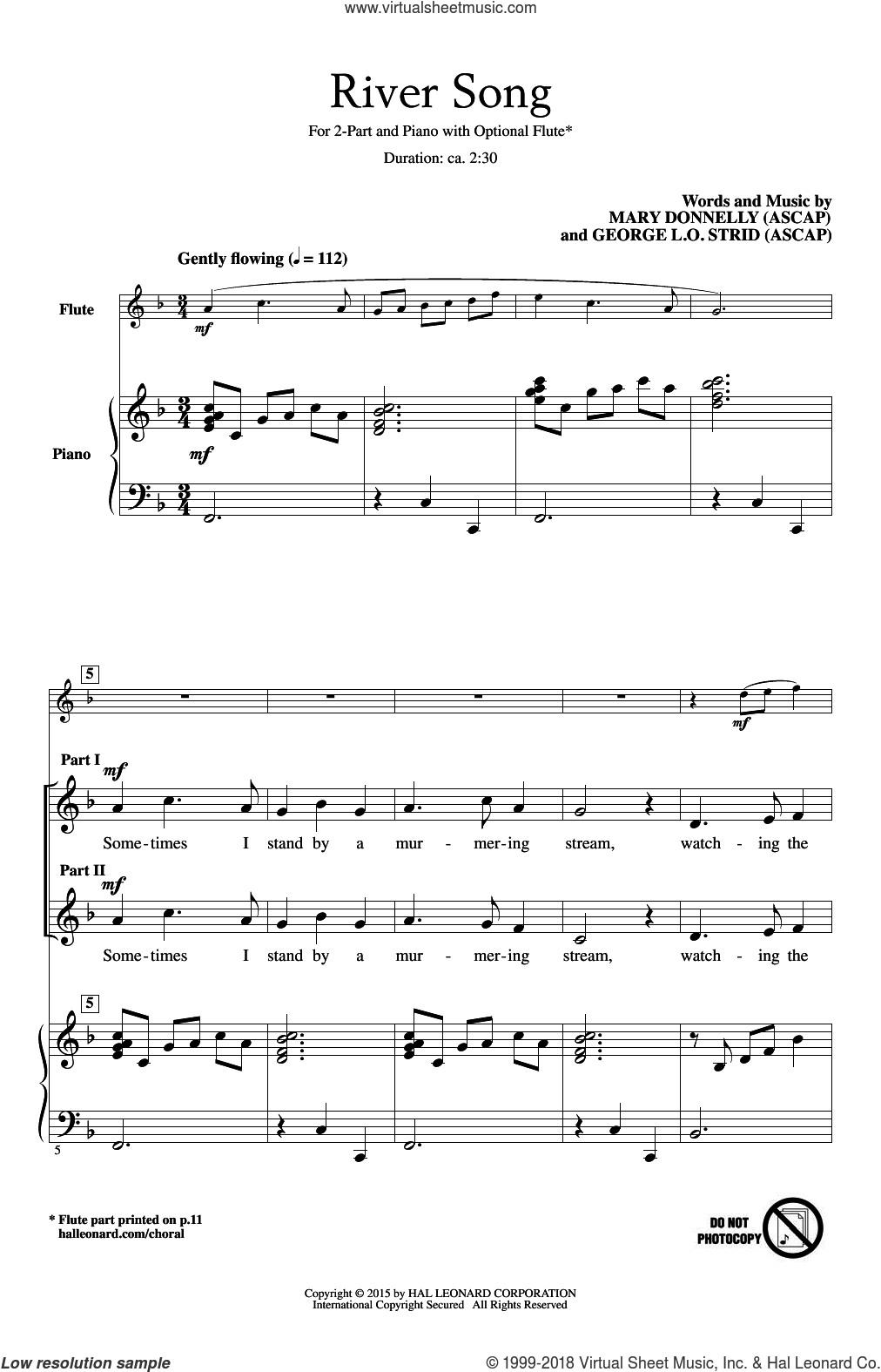 River Song sheet music for choir and piano (duets) by George L.O. Strid and Mary Donnelly. Score Image Preview.