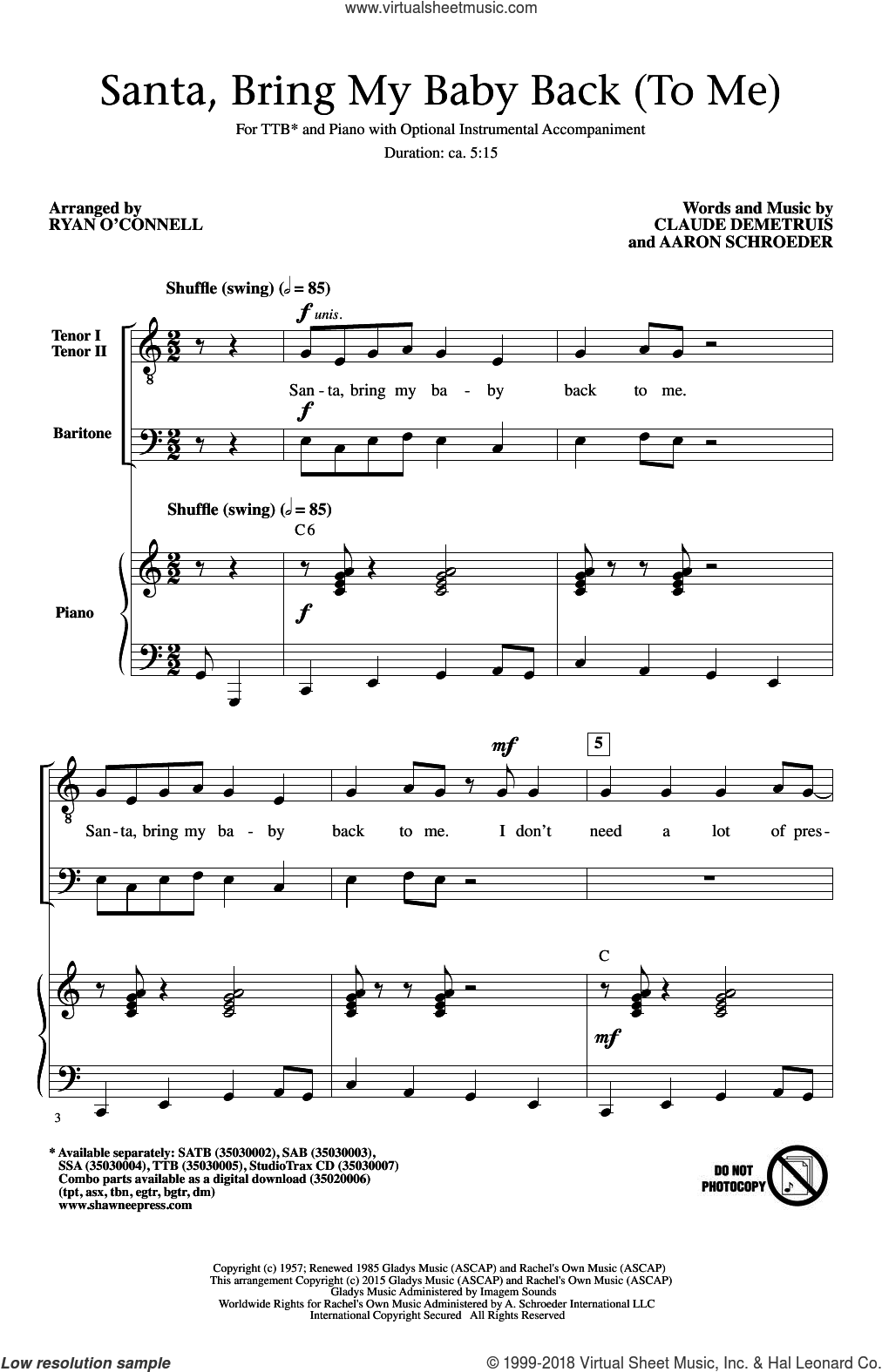 Santa, Bring My Baby Back (To Me) sheet music for choir (TTBB: tenor, bass) by Aaron Schroeder, Elvis Presley and Claude DeMetruis, intermediate skill level
