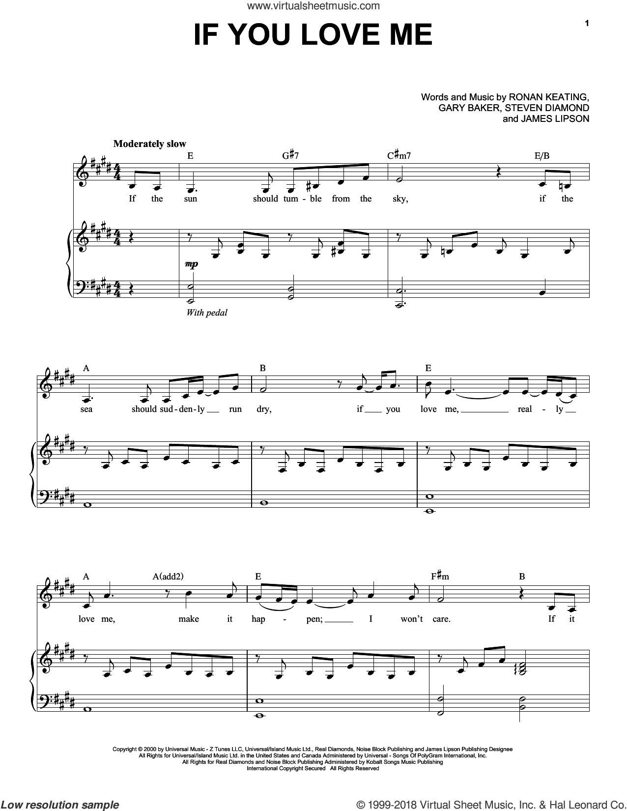 If You Love Me sheet music for voice and piano by Ronan Keating, Gary Baker, James Lipson and Steve Diamond, intermediate skill level