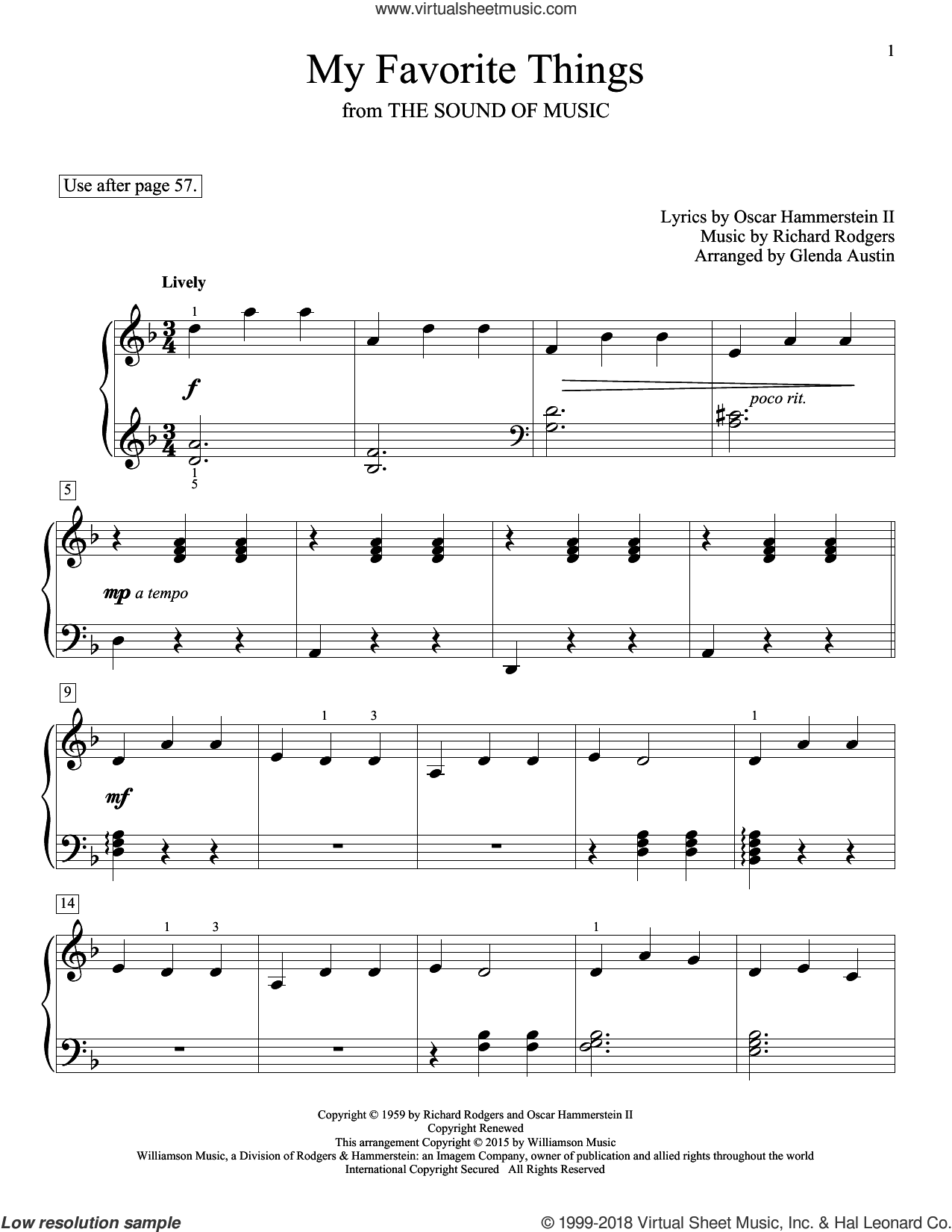 My Favorite Things sheet music for piano solo (elementary) by Richard Rodgers, Chicago, Eric Baumgartner, Glenda Austin, John Thompson, Lorrie Morgan, Rodgers & Hammerstein and Oscar II Hammerstein, beginner piano (elementary). Score Image Preview.