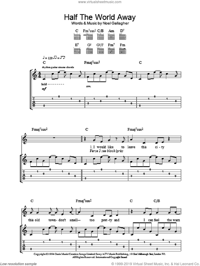 Half The World Away sheet music for guitar (tablature) by Oasis and Noel Gallagher