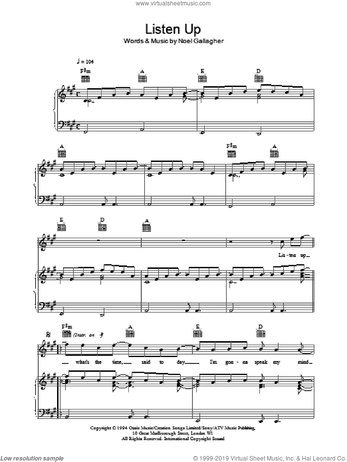 Listen Up sheet music for voice, piano or guitar by Oasis and Noel Gallagher, intermediate voice, piano or guitar. Score Image Preview.
