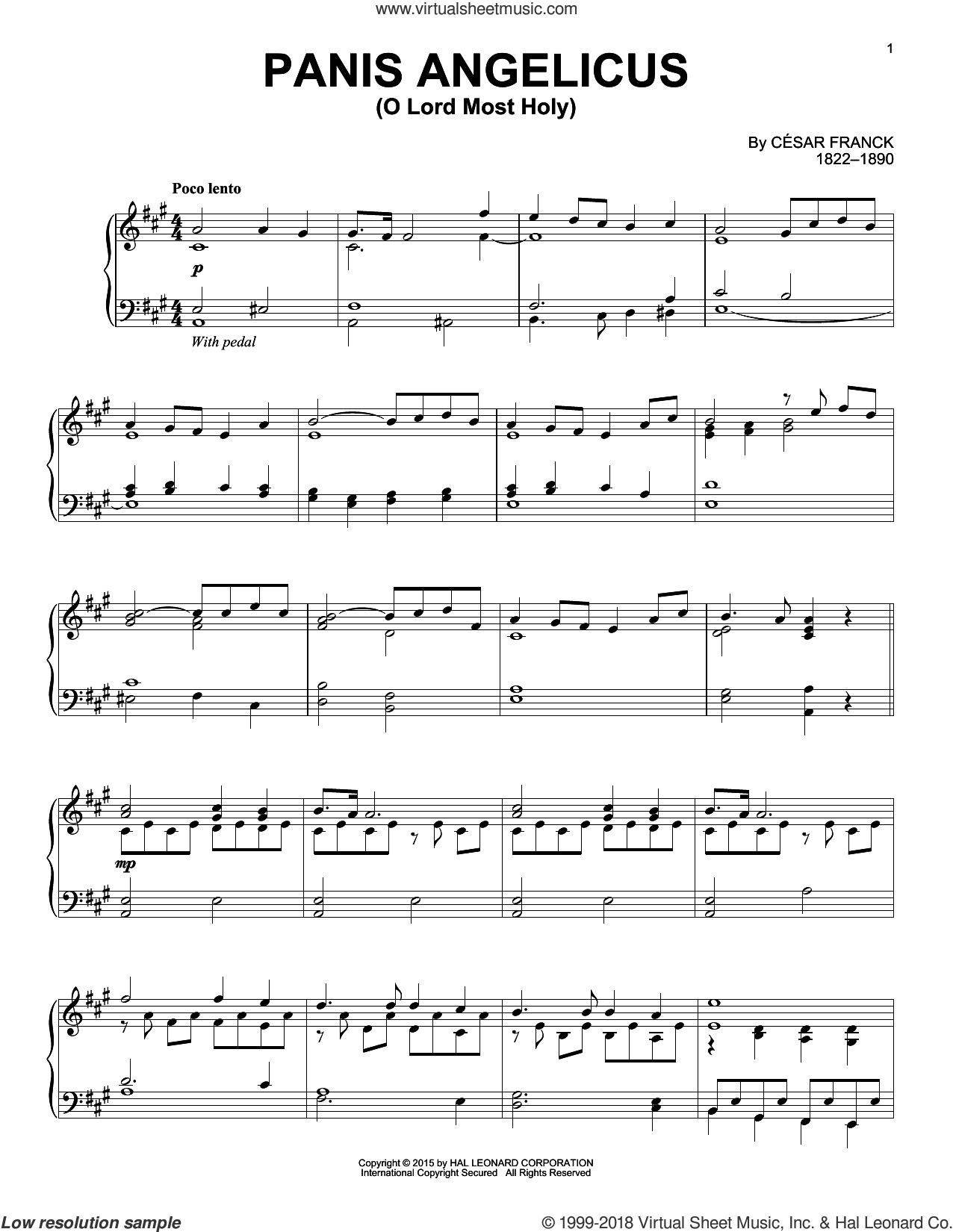 Panis Angelicus (O Lord Most Holy) sheet music for piano solo by César Franck and Cesar Franck. Score Image Preview.