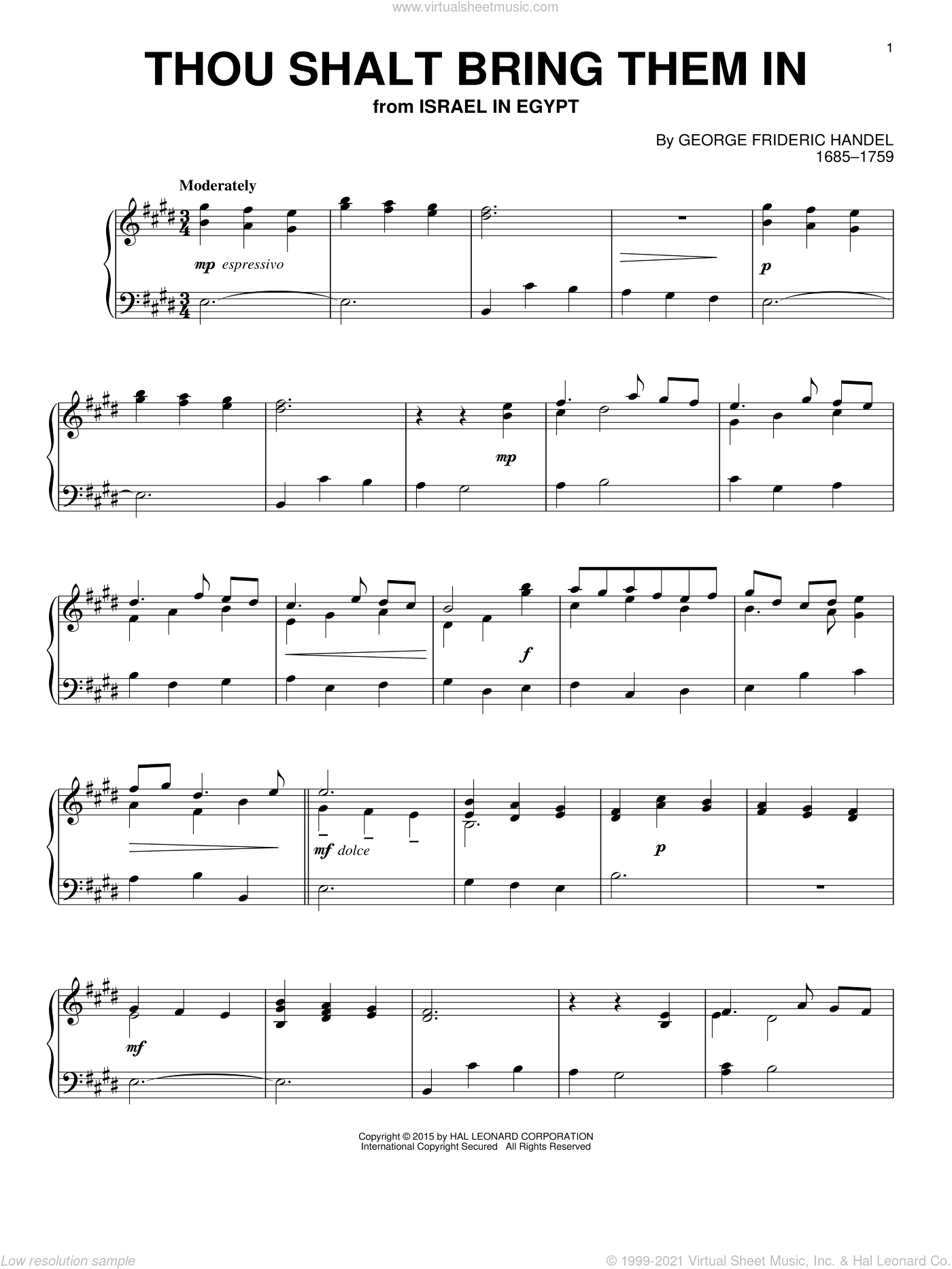 Thou Shalt Bring Them In sheet music for piano solo by George Frideric Handel, classical score, intermediate