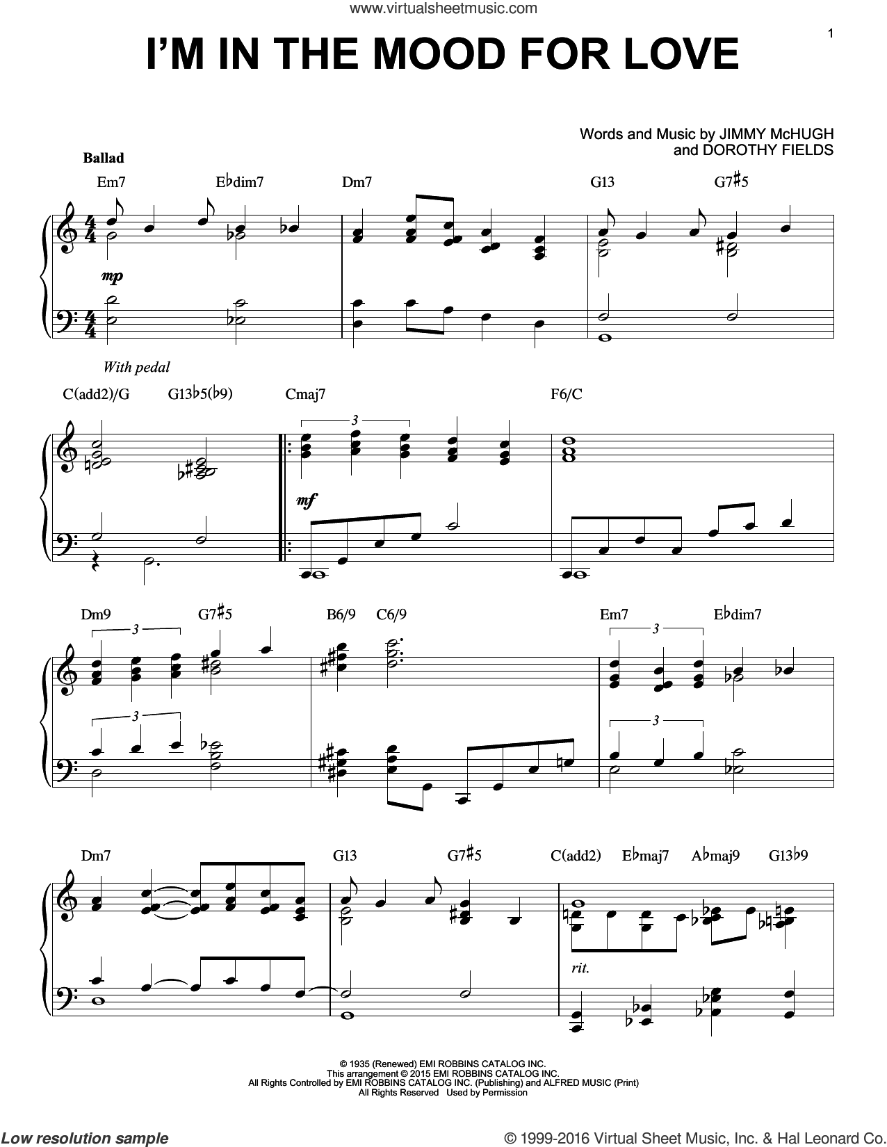 I'm In The Mood For Love [Jazz version] (arr. Brent Edstrom) sheet music for piano solo by Dorothy Fields and Jimmy McHugh, intermediate skill level