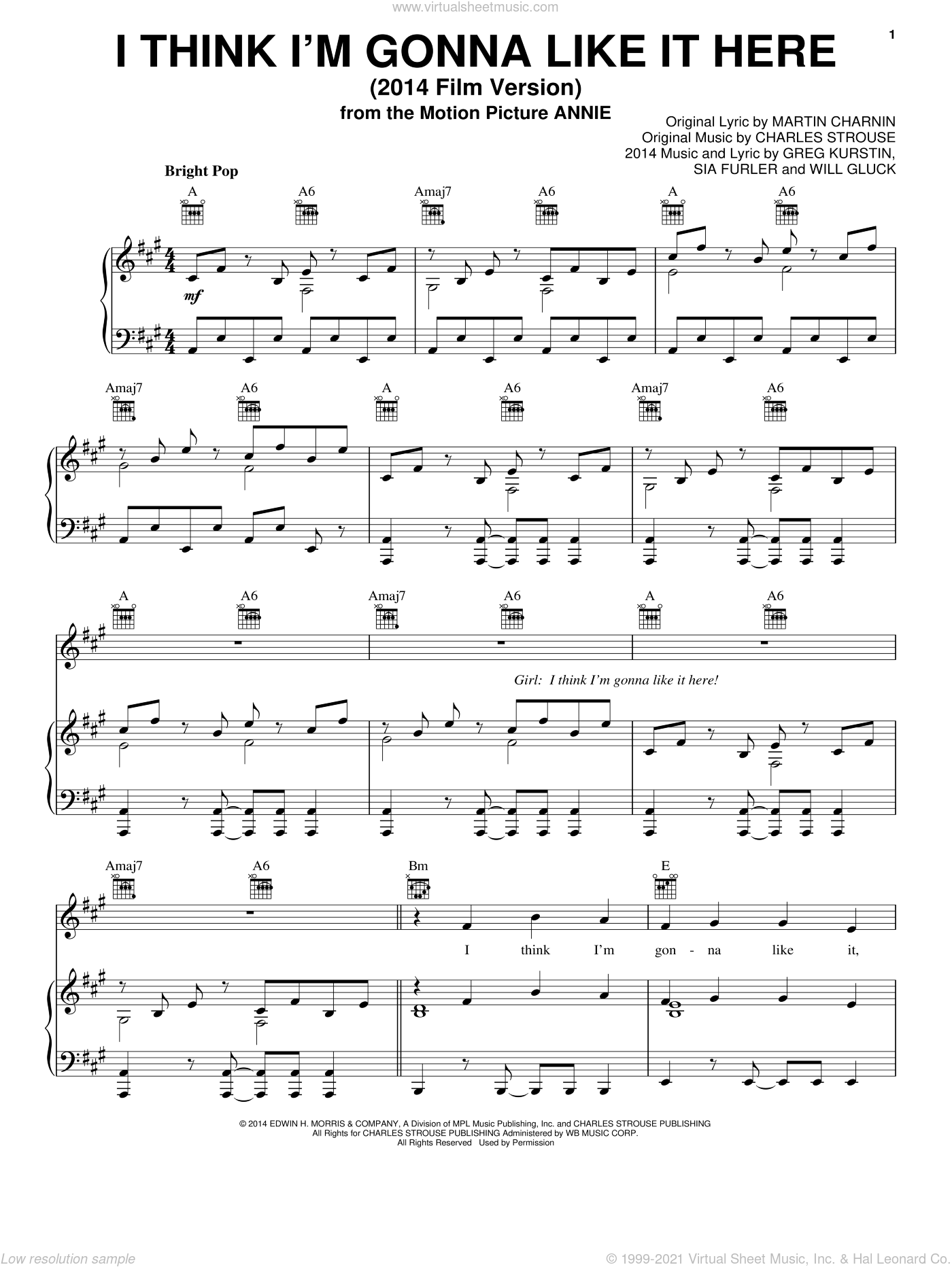 I Think I'm Gonna Like It Here (2014 Film Version) sheet music for voice, piano or guitar by Charles Strouse, Christoph Willibald Gluck, Greg Kurstin, Martin Charnin and Sia Furler, intermediate skill level