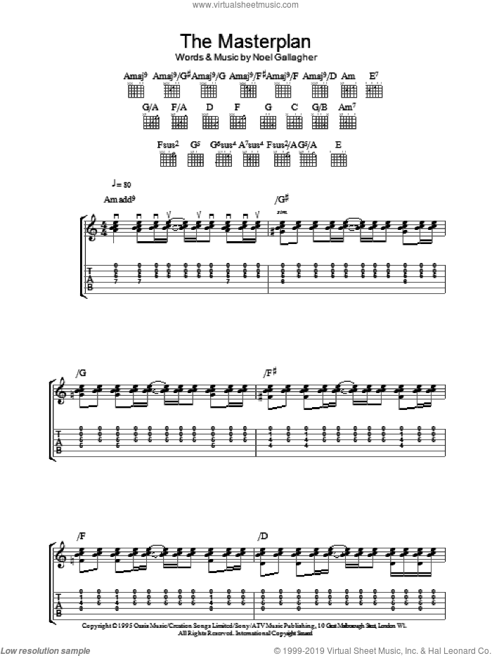 The Masterplan sheet music for guitar (tablature) by Oasis and Noel Gallagher, intermediate skill level