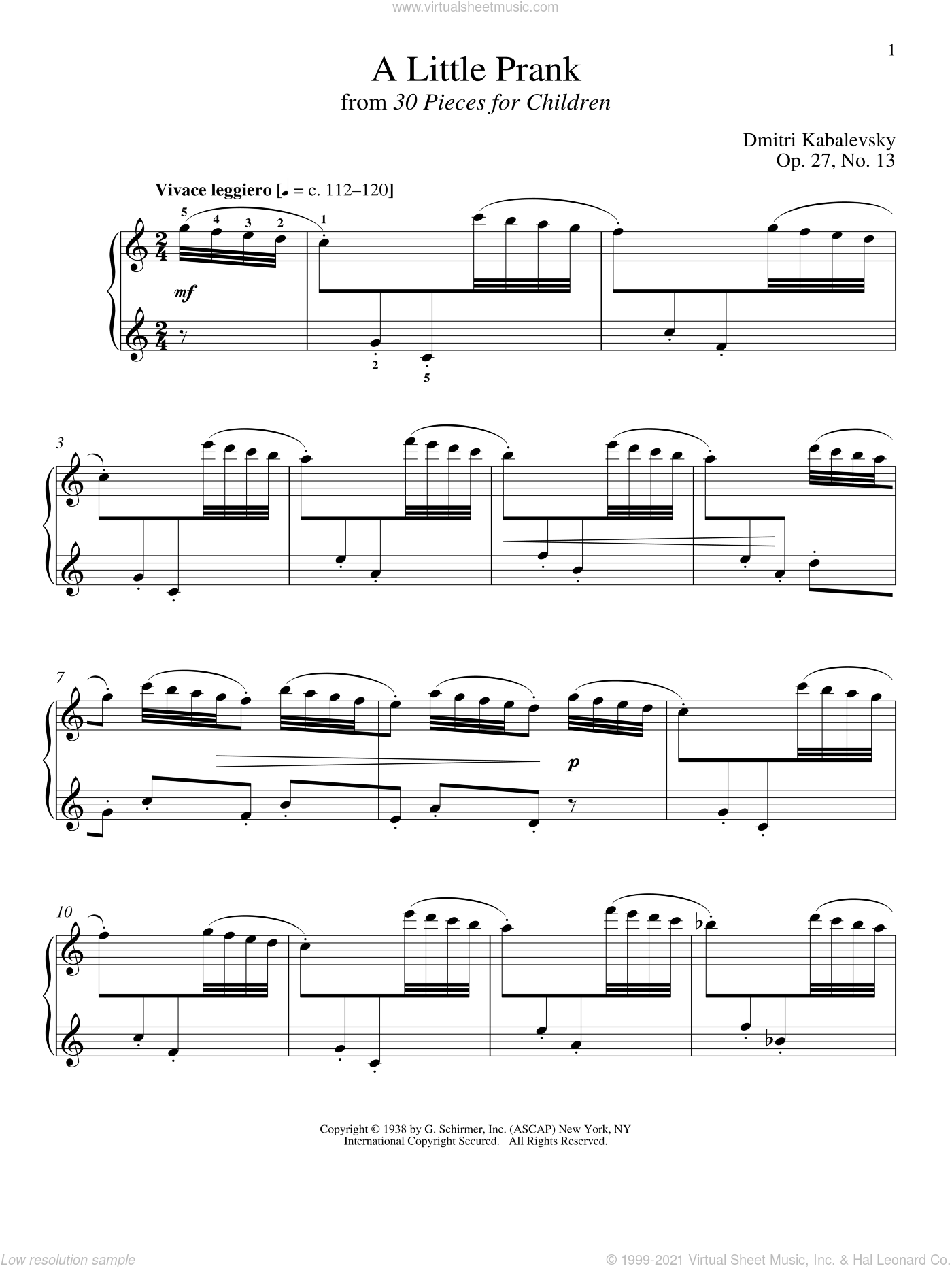 A Little Prank sheet music for piano solo by Dmitri Kabalevsky and Richard Walters, classical score, intermediate. Score Image Preview.