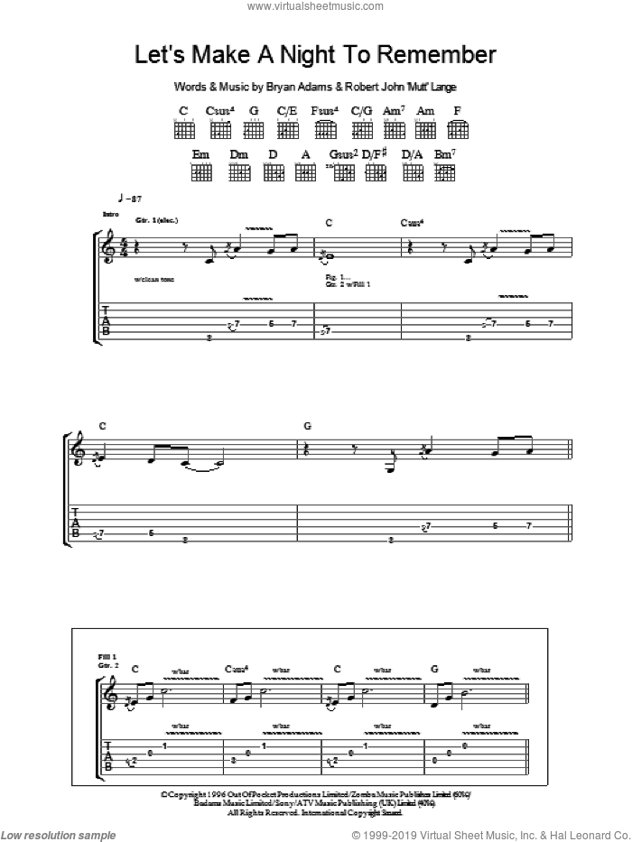 Let's Make A Night To Remember sheet music for guitar (tablature) by Bryan Adams and Robert John Lange, intermediate skill level