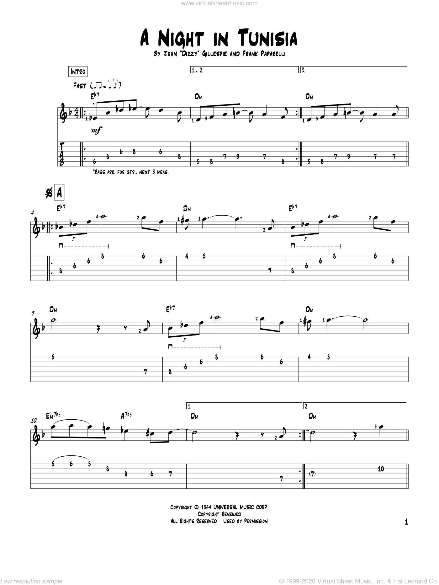 A Night In Tunisia sheet music for guitar solo by Dizzy Gillespie and Frank Paparelli, intermediate