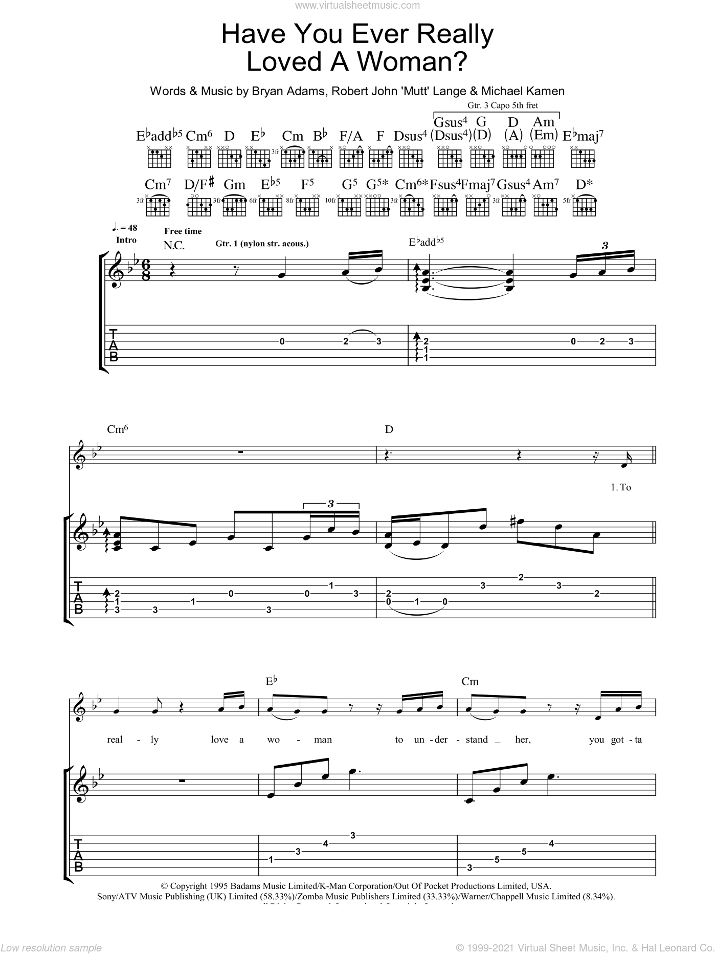 Have You Ever Really Loved A Woman? sheet music for guitar (tablature) by Robert John Lange