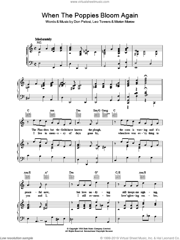 When The Poppies Bloom Again sheet music for voice, piano or guitar by Vera Lynn, Don Pelosi, Leo Towers and Morton Morrow, intermediate skill level