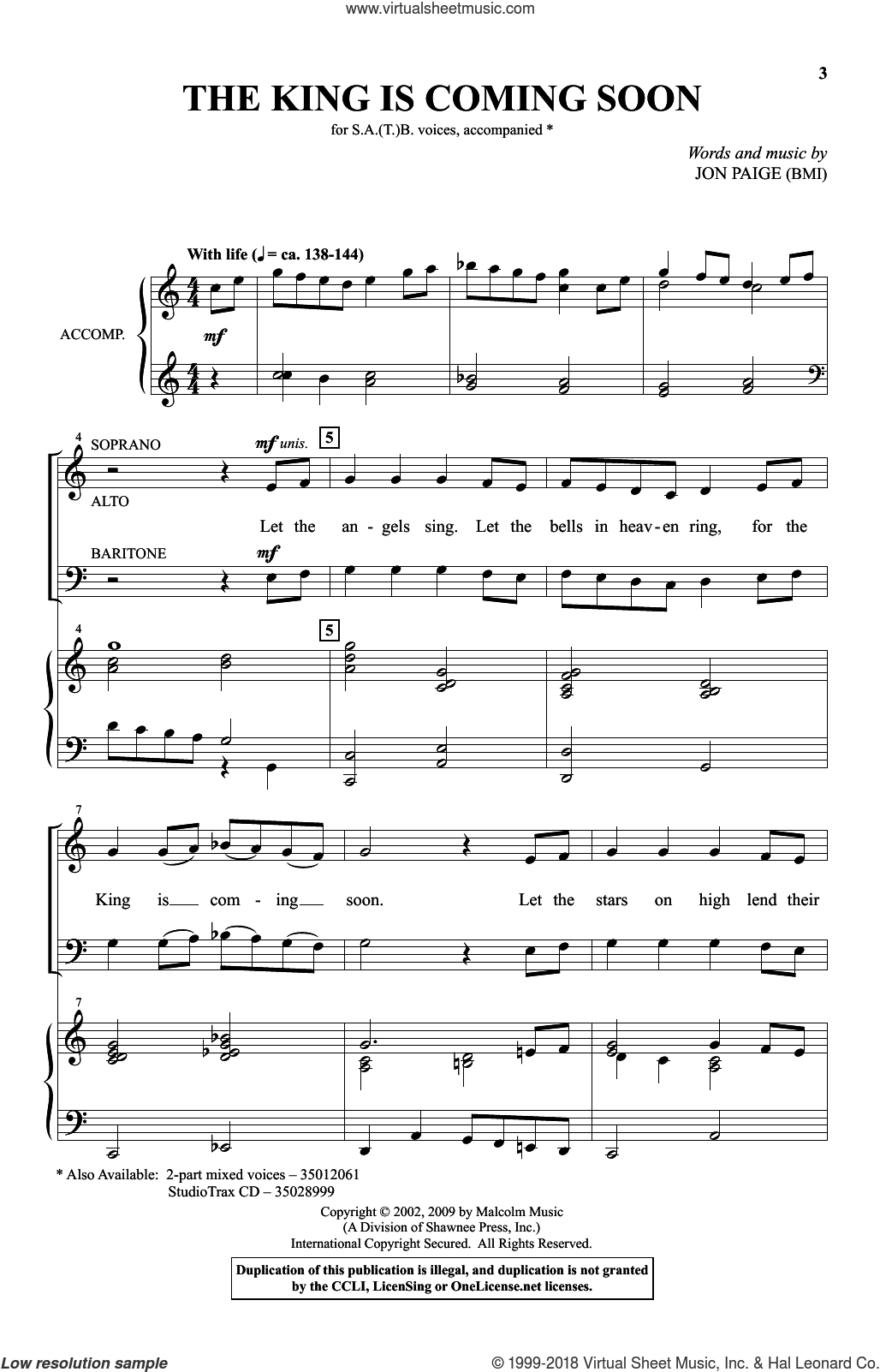 The King Is Coming Soon sheet music for choir (SATB) by Jon Paige. Score Image Preview.