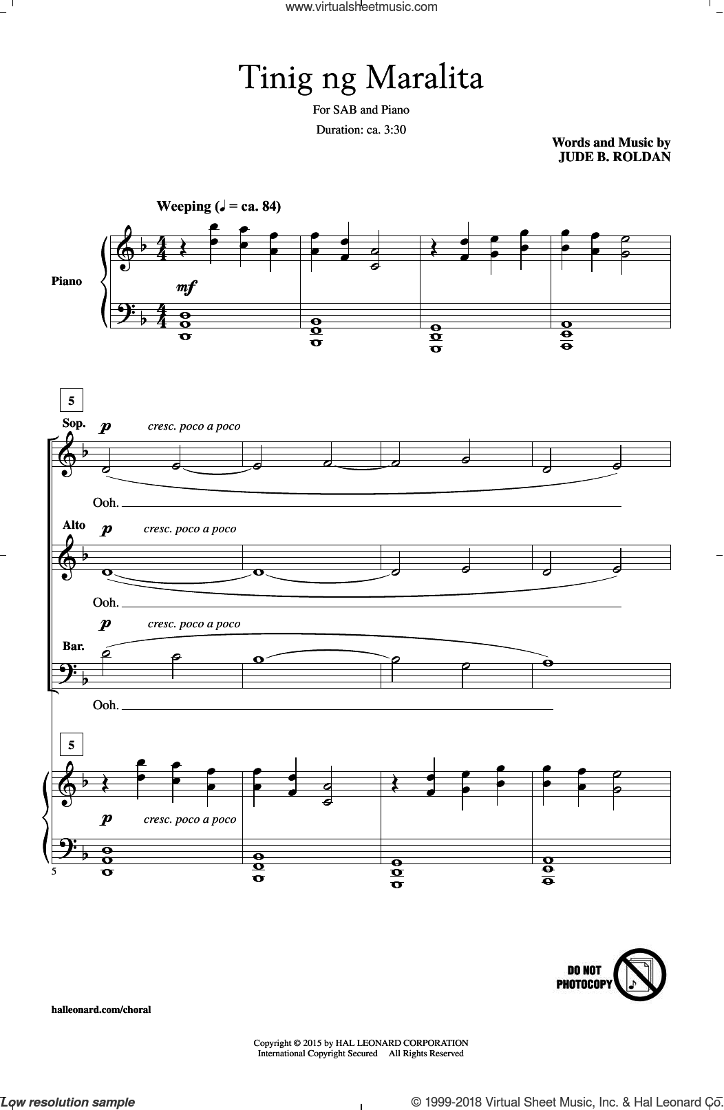 Tinig Ng Maralita sheet music for choir (SAB: soprano, alto, bass) by Jude Roldan, intermediate