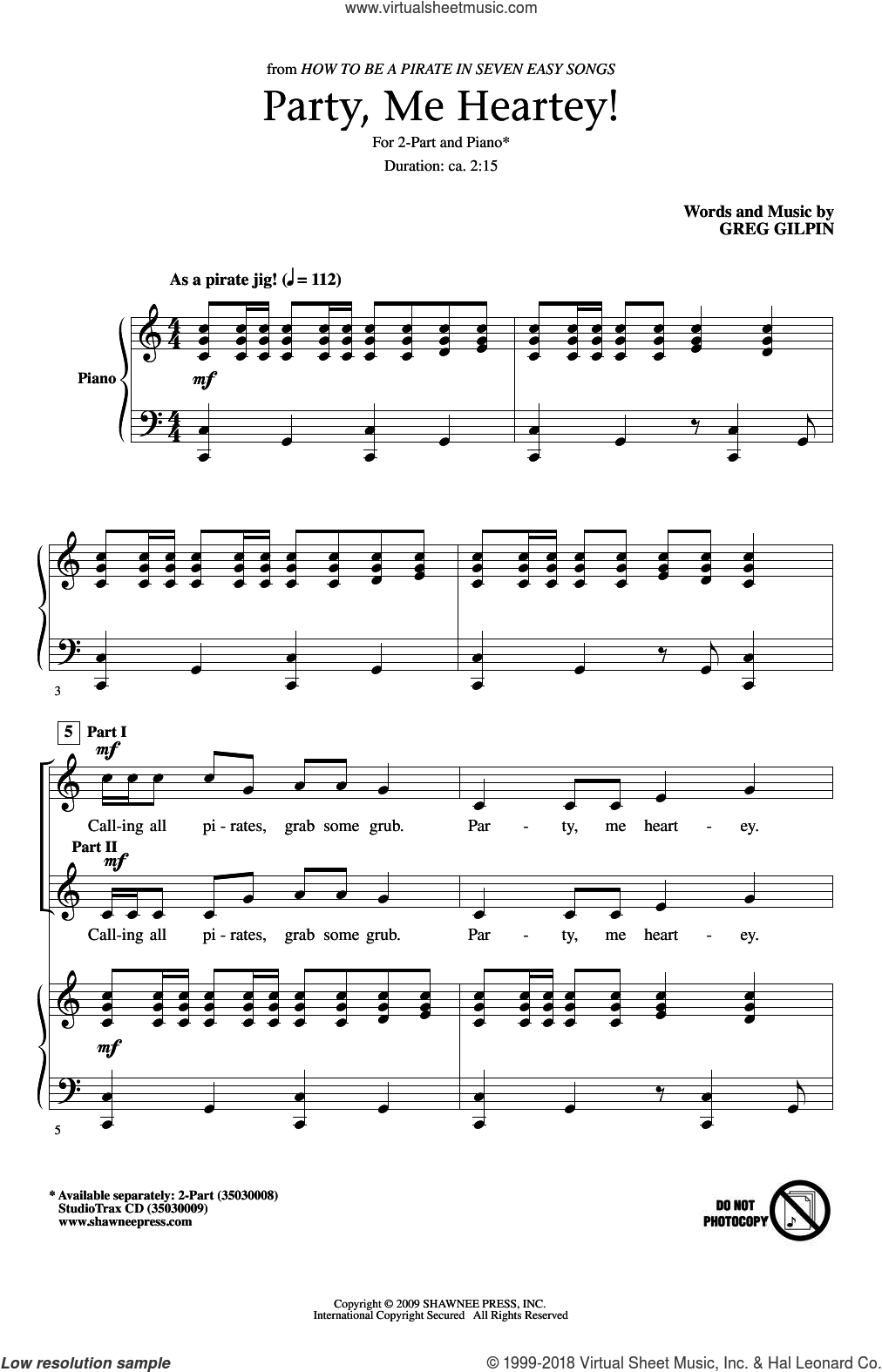 Party, Me Heartey sheet music for choir (duets) by Greg Gilpin, intermediate duet. Score Image Preview.