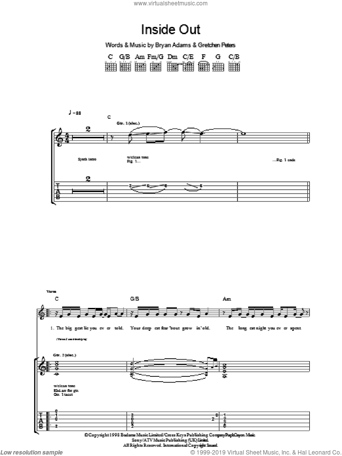 Inside Out sheet music for guitar (tablature) by Gretchen Peters and Bryan Adams. Score Image Preview.