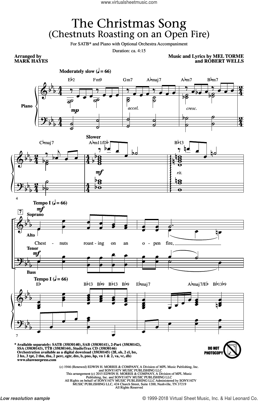The Christmas Song (Chestnuts Roasting On An Open Fire) sheet music for choir (SATB: soprano, alto, tenor, bass) by Mel Torme, Mark Hayes, Mel Tormé, Mel Torme and Robert Wells, intermediate skill level