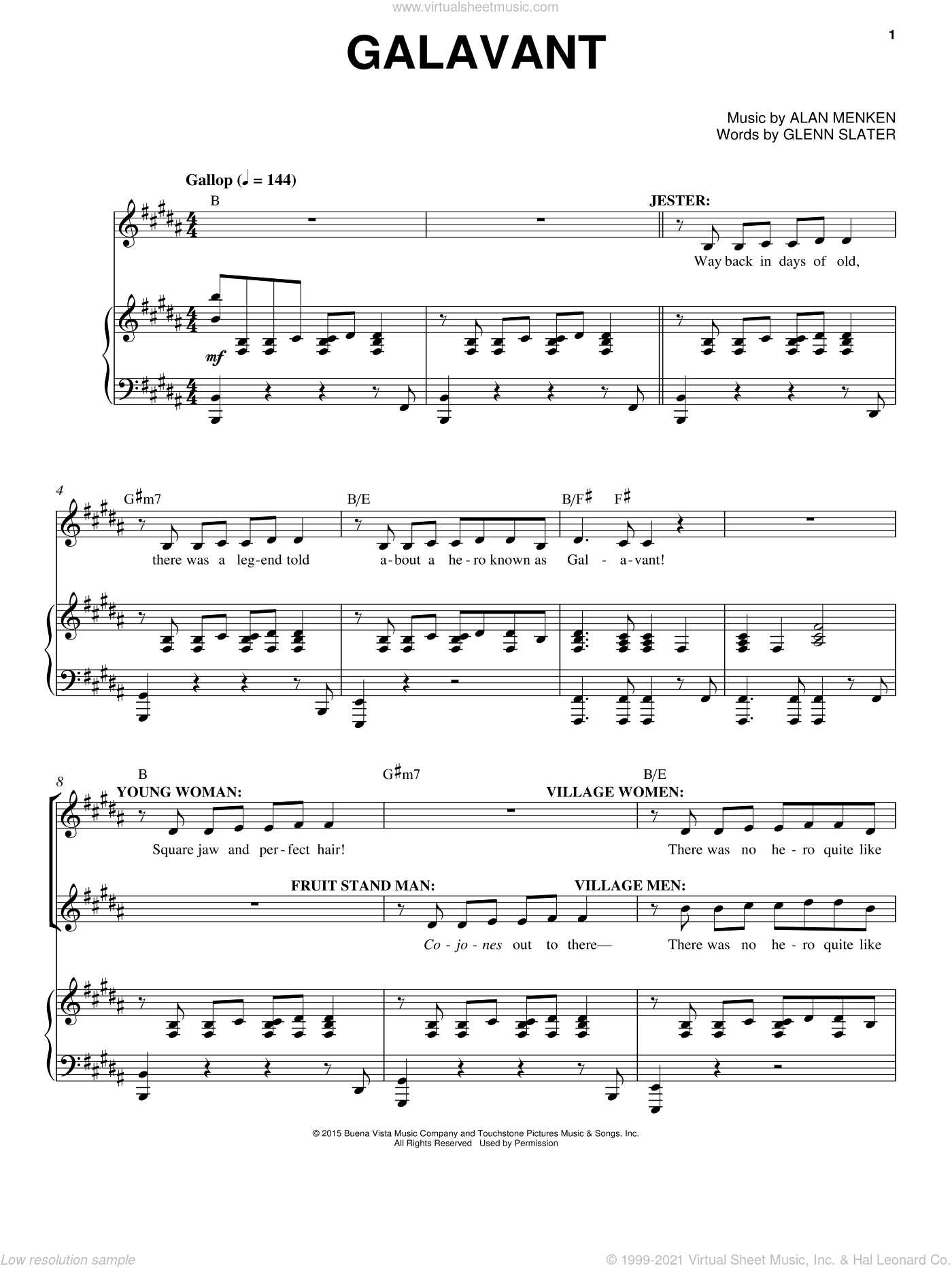 Galavant sheet music for voice and piano by Alan Menken and Glenn Slater, intermediate skill level