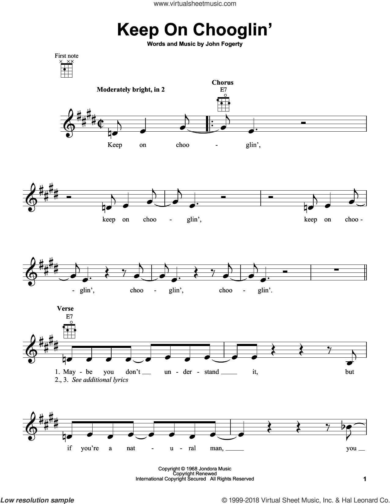 Keep On Chooglin' sheet music for ukulele by John Fogerty and Creedence Clearwater Revival. Score Image Preview.