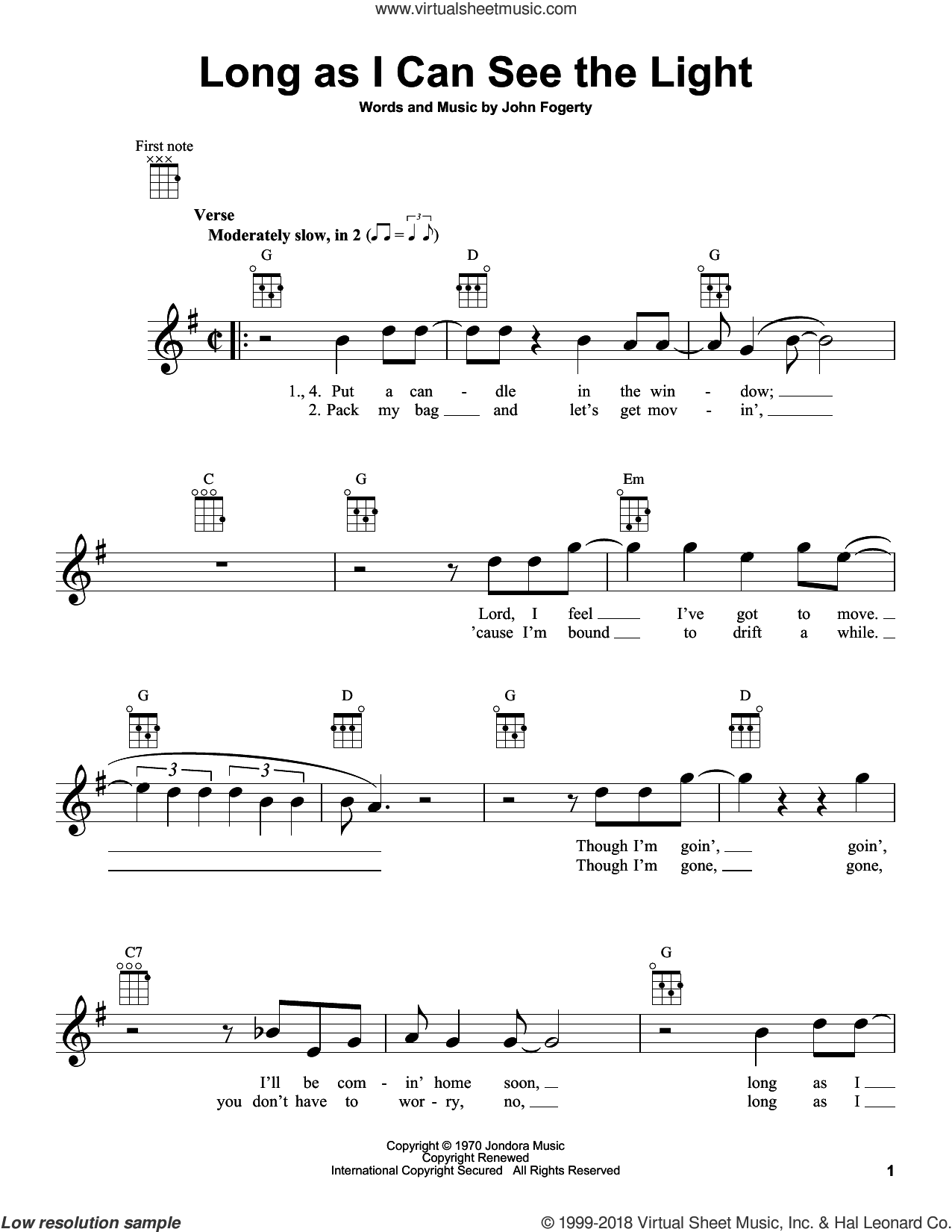 Long As I Can See The Light sheet music for ukulele by Creedence Clearwater Revival and John Fogerty, intermediate skill level