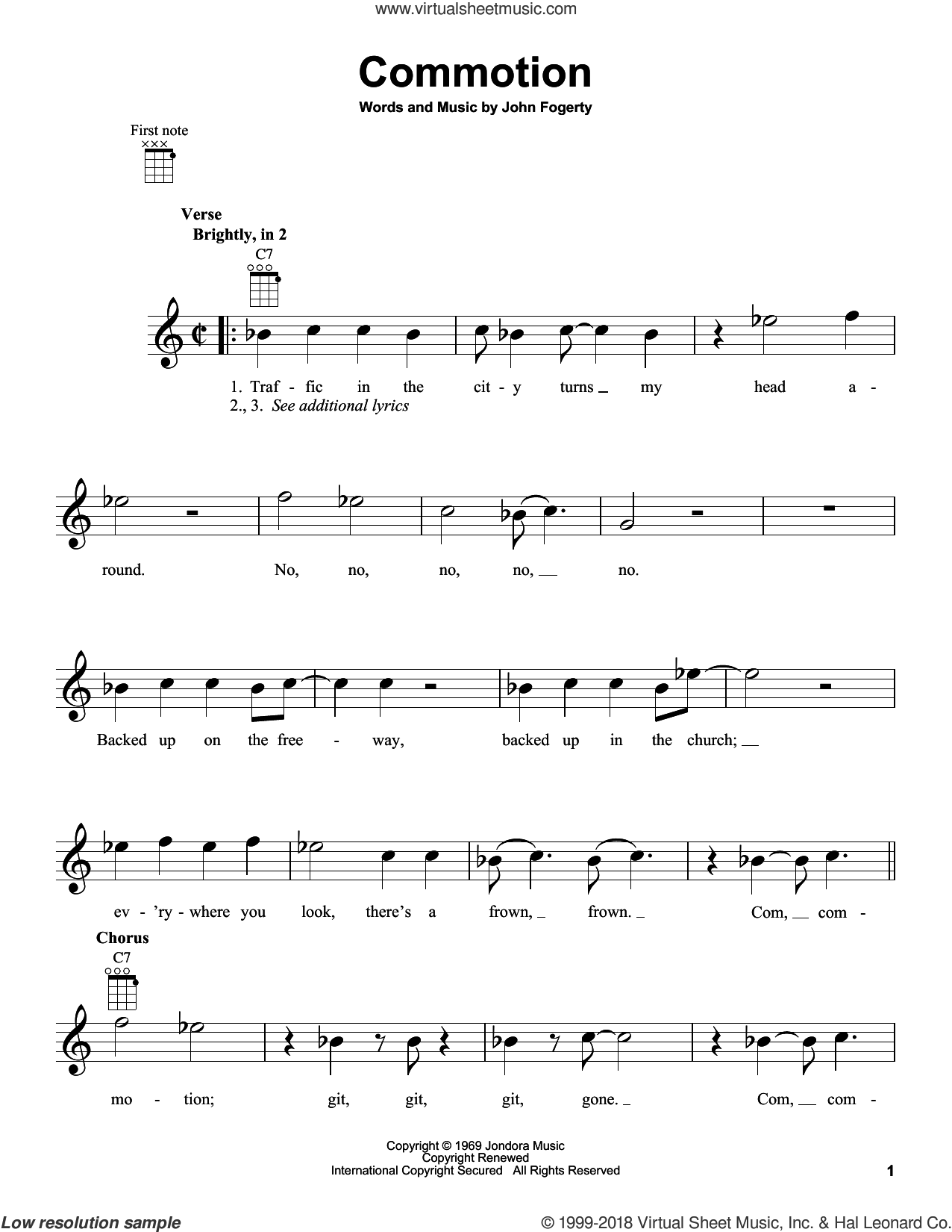 Commotion sheet music for ukulele by John Fogerty and Creedence Clearwater Revival. Score Image Preview.