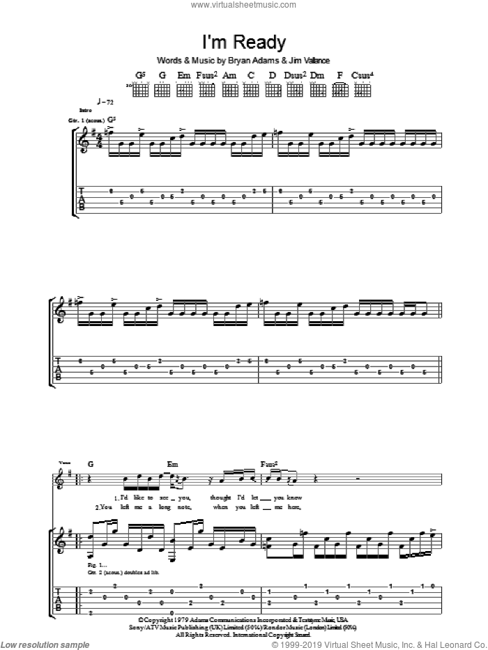 I'm Ready sheet music for guitar (tablature) by Jim Vallance and Bryan Adams. Score Image Preview.