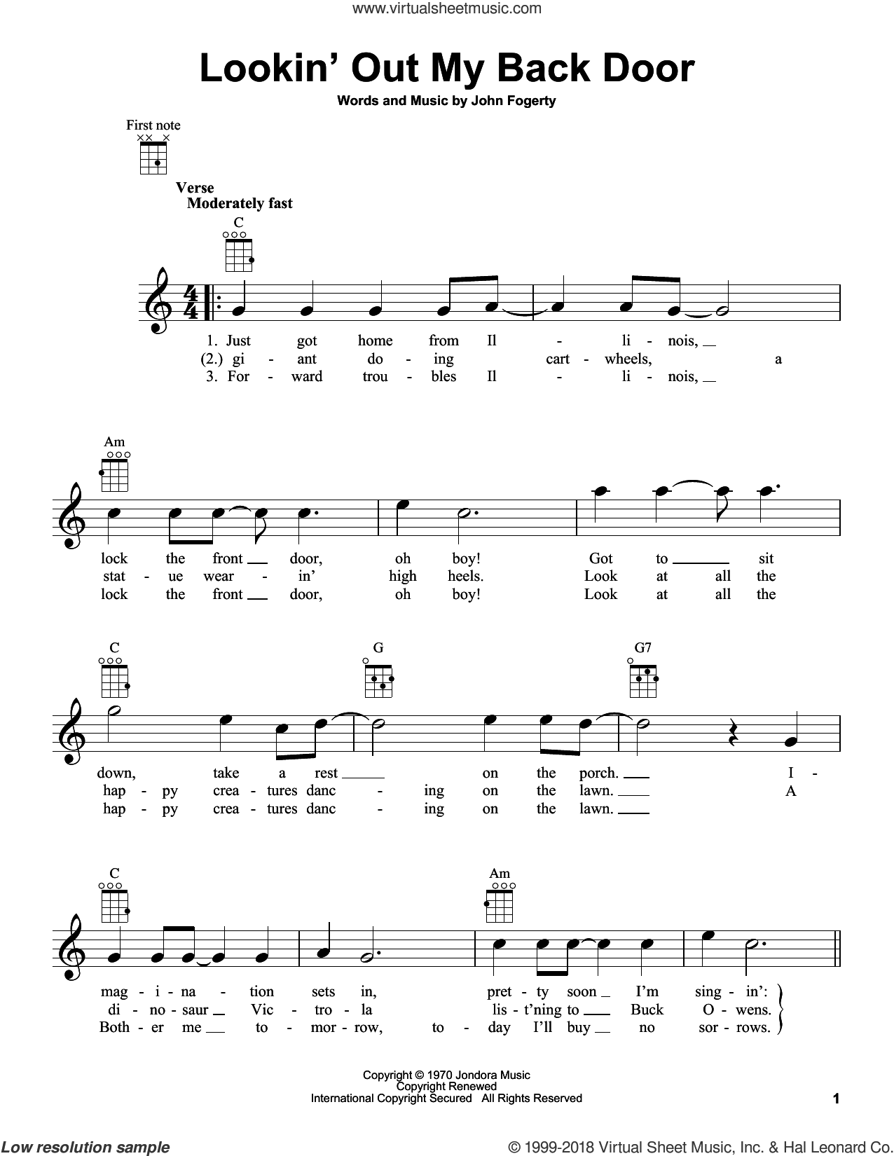Lookin' Out My Back Door sheet music for ukulele by Creedence Clearwater Revival and John Fogerty, intermediate ukulele. Score Image Preview.