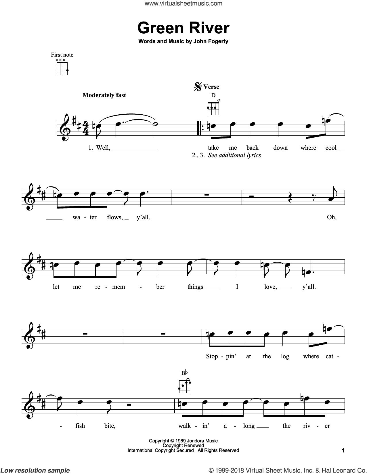 Green River sheet music for ukulele by Creedence Clearwater Revival and John Fogerty, intermediate ukulele. Score Image Preview.