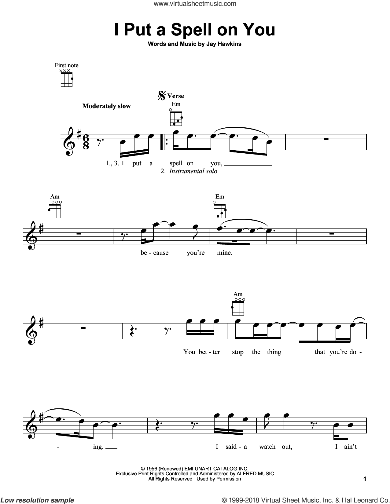 I Put A Spell On You sheet music for ukulele by Jay Hawkins and Creedence Clearwater Revival. Score Image Preview.