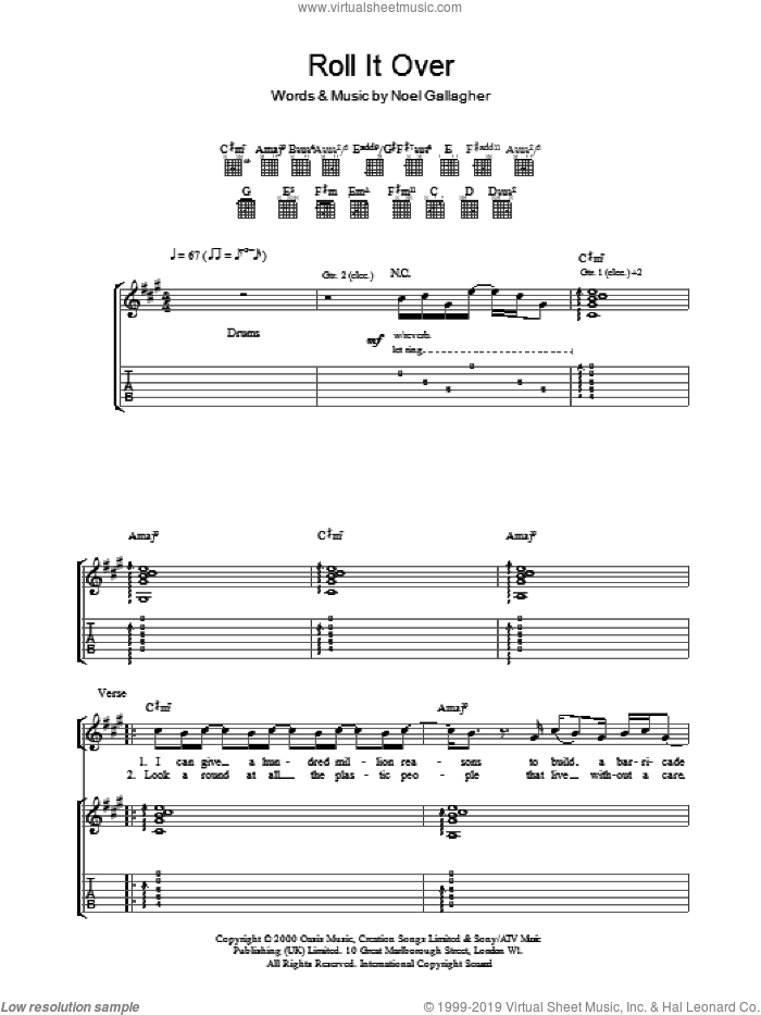 Roll It Over sheet music for guitar (tablature) by Oasis and Noel Gallagher, intermediate