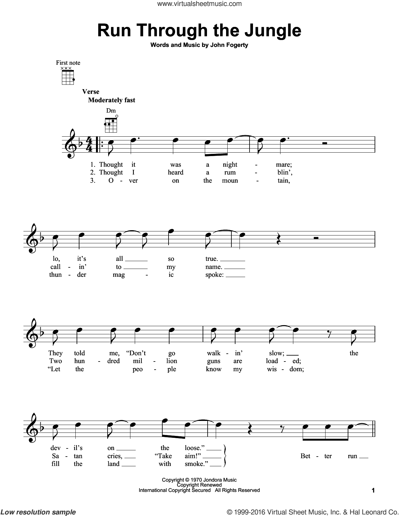 Run Through The Jungle sheet music for ukulele by Creedence Clearwater Revival and John Fogerty, intermediate