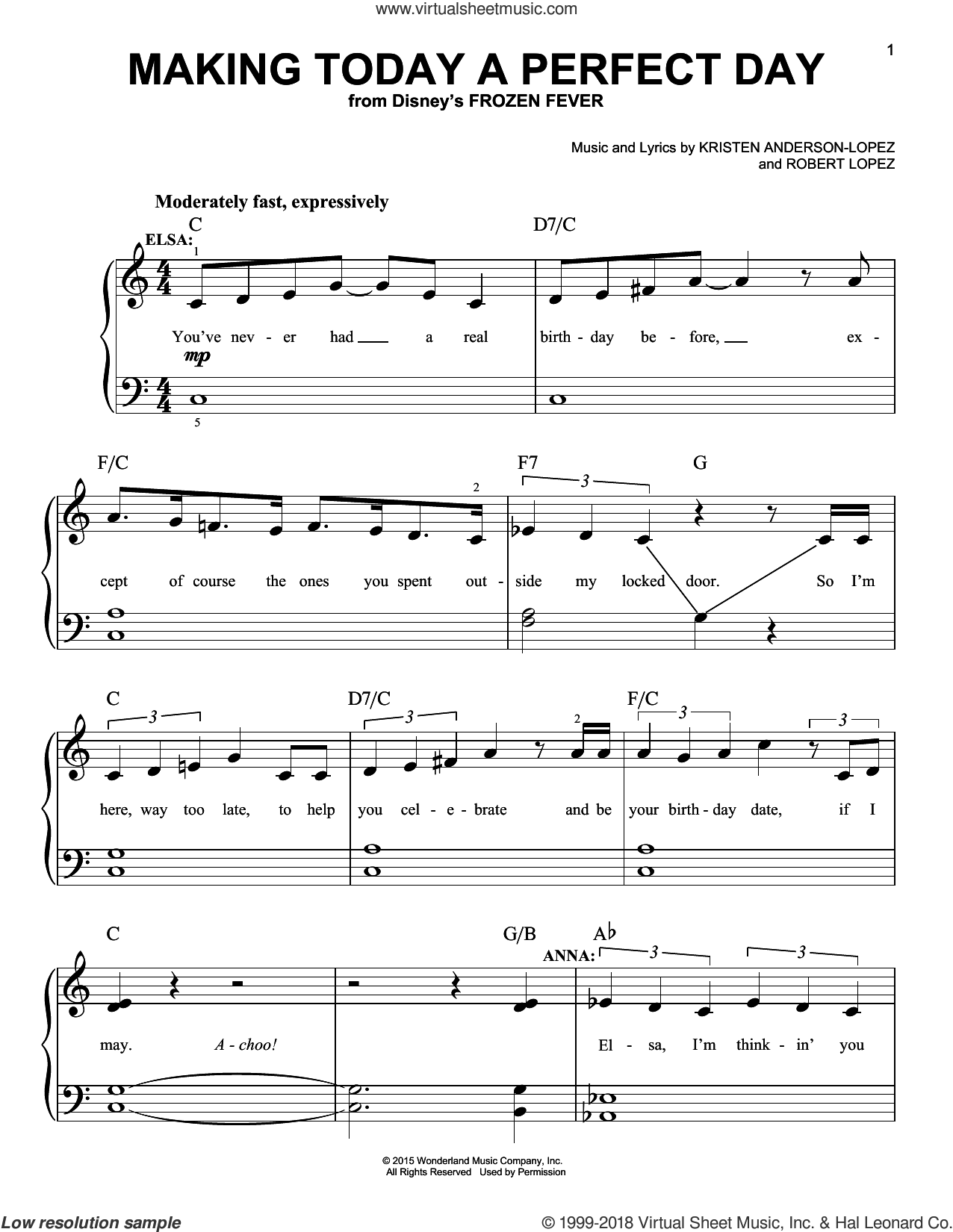 Making Today A Perfect Day (from Frozen Fever) sheet music for piano solo by Robert Lopez, Idina Menzel, Idina Menzel & Kristen Bell and Cast, Kristen Bell and Kristen Anderson-Lopez, easy skill level
