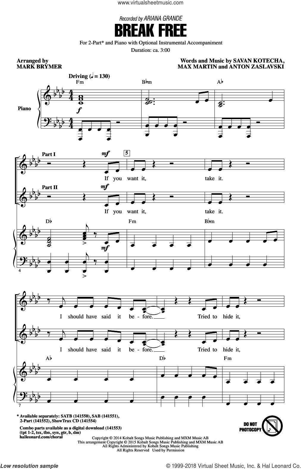Break Free sheet music for choir (duets) by Mark Brymer, Ariana Grande, Anton Zaslavski, Max Martin and Savan Kotecha. Score Image Preview.