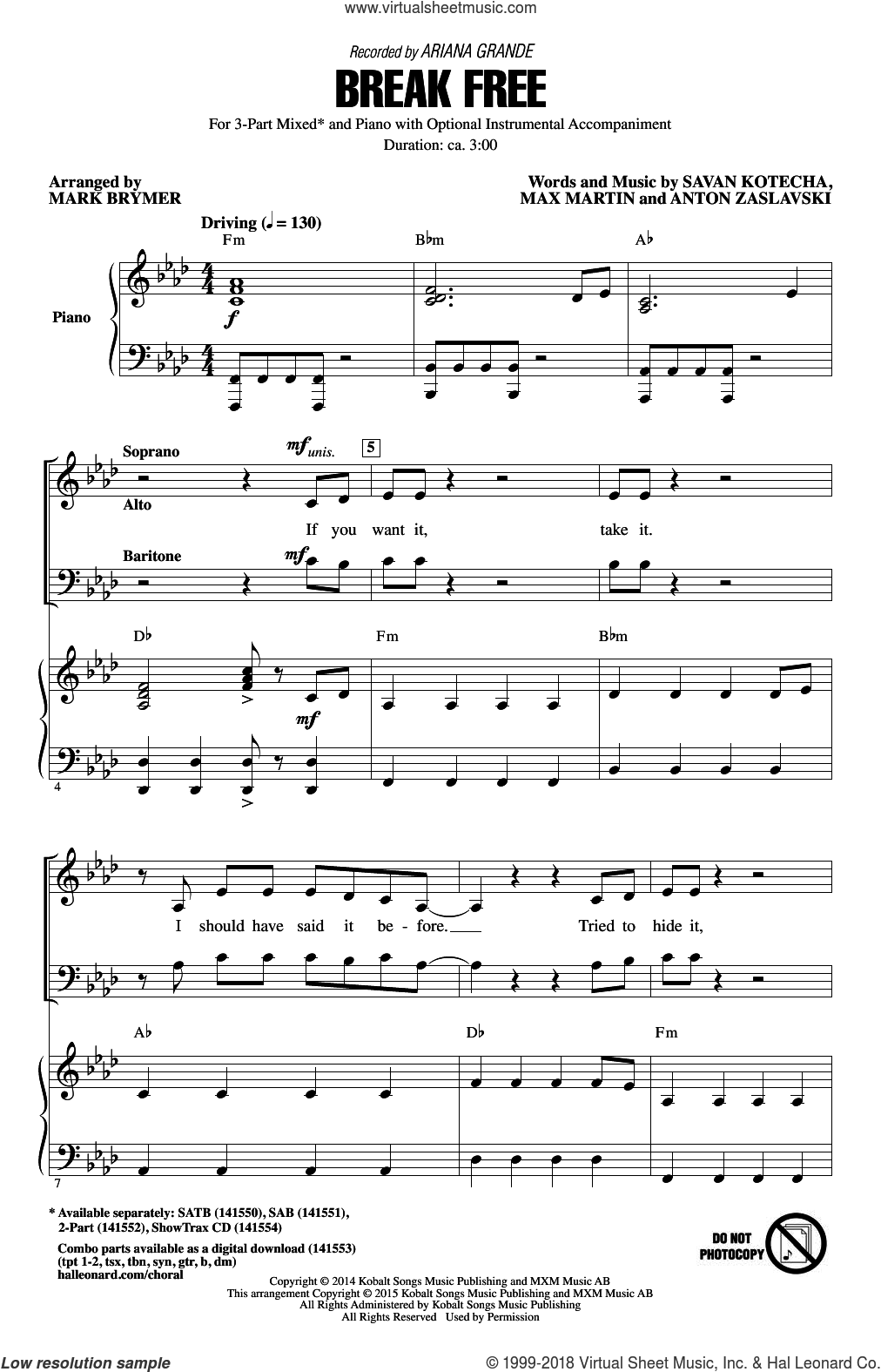 Break Free sheet music for choir and piano (chamber ensemble) by Mark Brymer, Ariana Grande, Anton Zaslavski, Max Martin and Savan Kotecha. Score Image Preview.