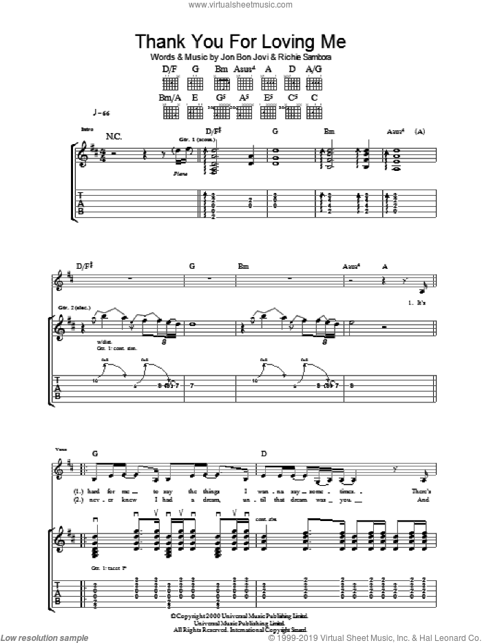 Thank You For Loving Me sheet music for guitar (tablature) by Richie Sambora and Bon Jovi. Score Image Preview.