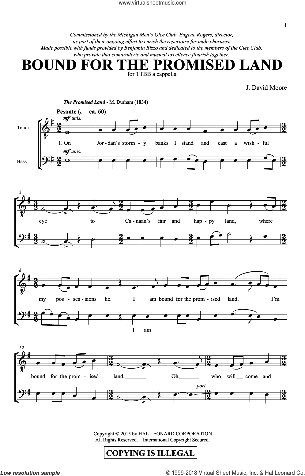 Bound For The Promised Land sheet music for choir (TTBB: tenor, bass) by J. David Moore, intermediate skill level