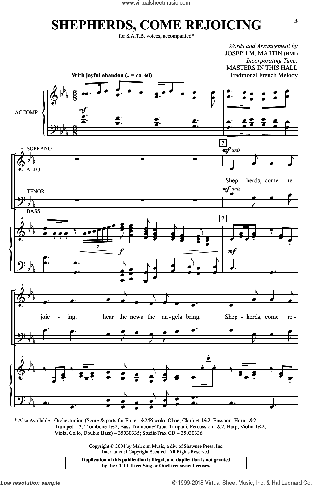 Shepherds, Come Rejoicing sheet music for choir and piano (SATB) by Joseph M. Martin. Score Image Preview.