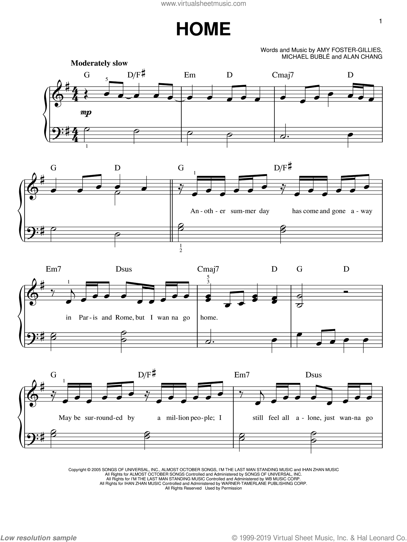 Home sheet music for piano solo by Michael Buble, Blake Shelton, Westlife, Alan Chang and Amy Foster-Gillies, beginner skill level