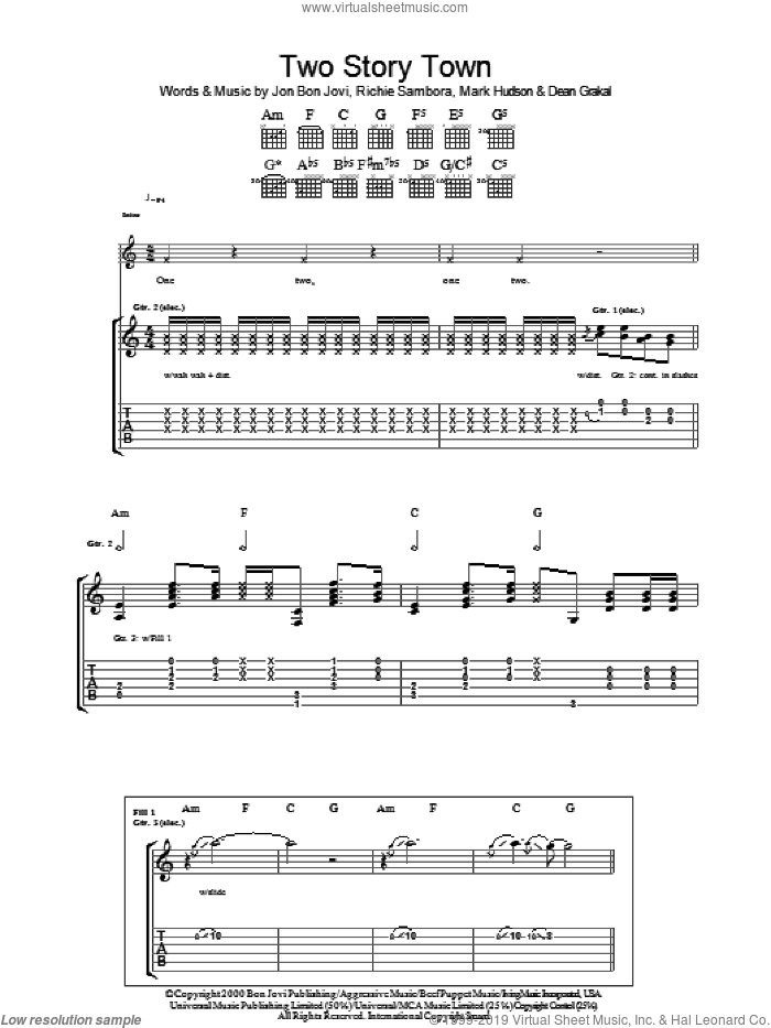 Two Story Town sheet music for guitar (tablature) by Richie Sambora, Bon Jovi and Mark Hudson. Score Image Preview.