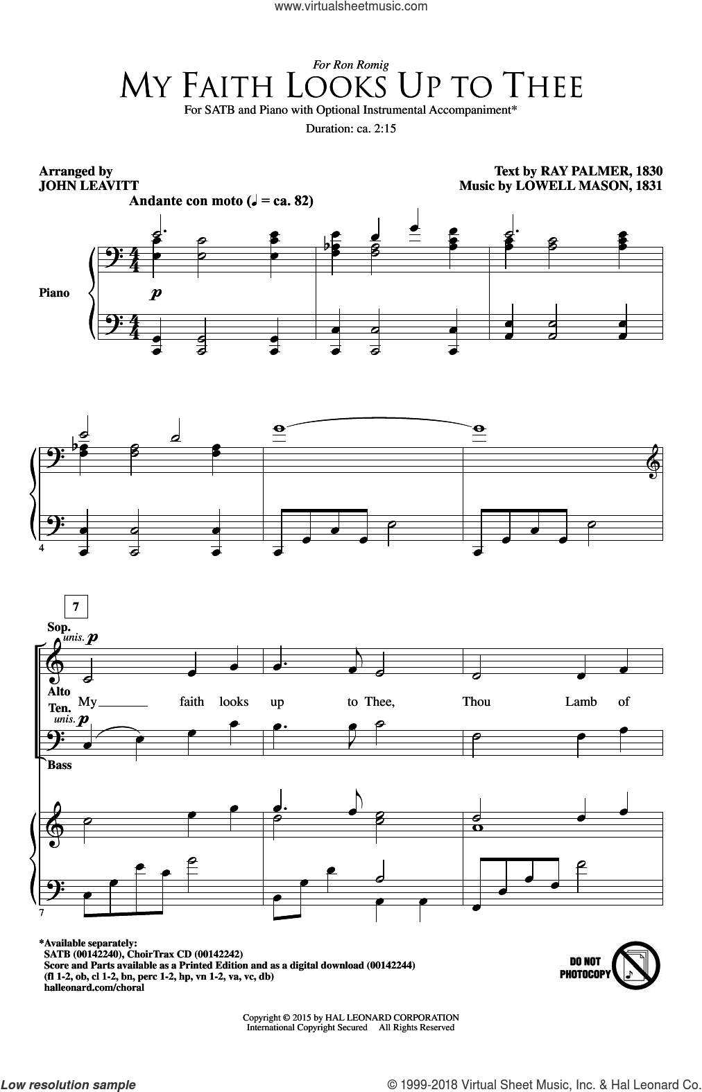 My Faith Looks Up To Thee sheet music for choir (SATB) by John Leavitt, Lowell Mason and Ray Palmer. Score Image Preview.