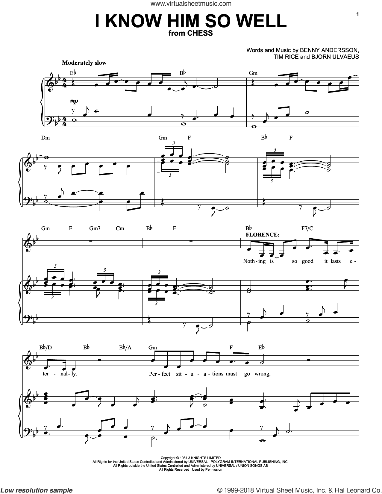 I Know Him So Well sheet music for voice and piano by Tim Rice, Benny Andersson and Bjorn Ulvaeus, intermediate skill level